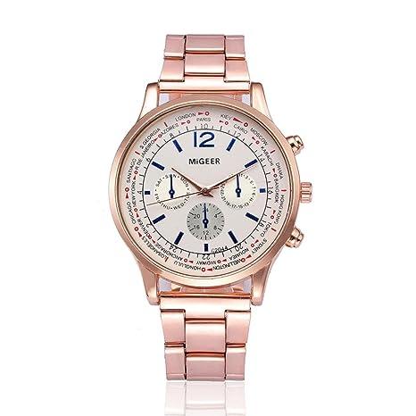 dcd68f4cfd2e Reloje Hombres ❤ Amlaiworld Reloj de pulsera de cuarzo analógico de acero  inoxidable cristalino de