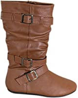 Rockland Girl's Faux Leather Zipper up Winter Boots Amy-16k Tan or Brown