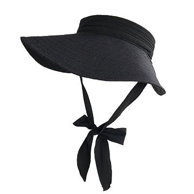 Women's hat FYXD- Femme Été vide Top Hat Noir Blanc Chapeau De Vacances Chapeau De Vacances Sur Chapeau Pliable Chapeau De Loisirs En Plein Air Sun Hat (Couleur : Noir)