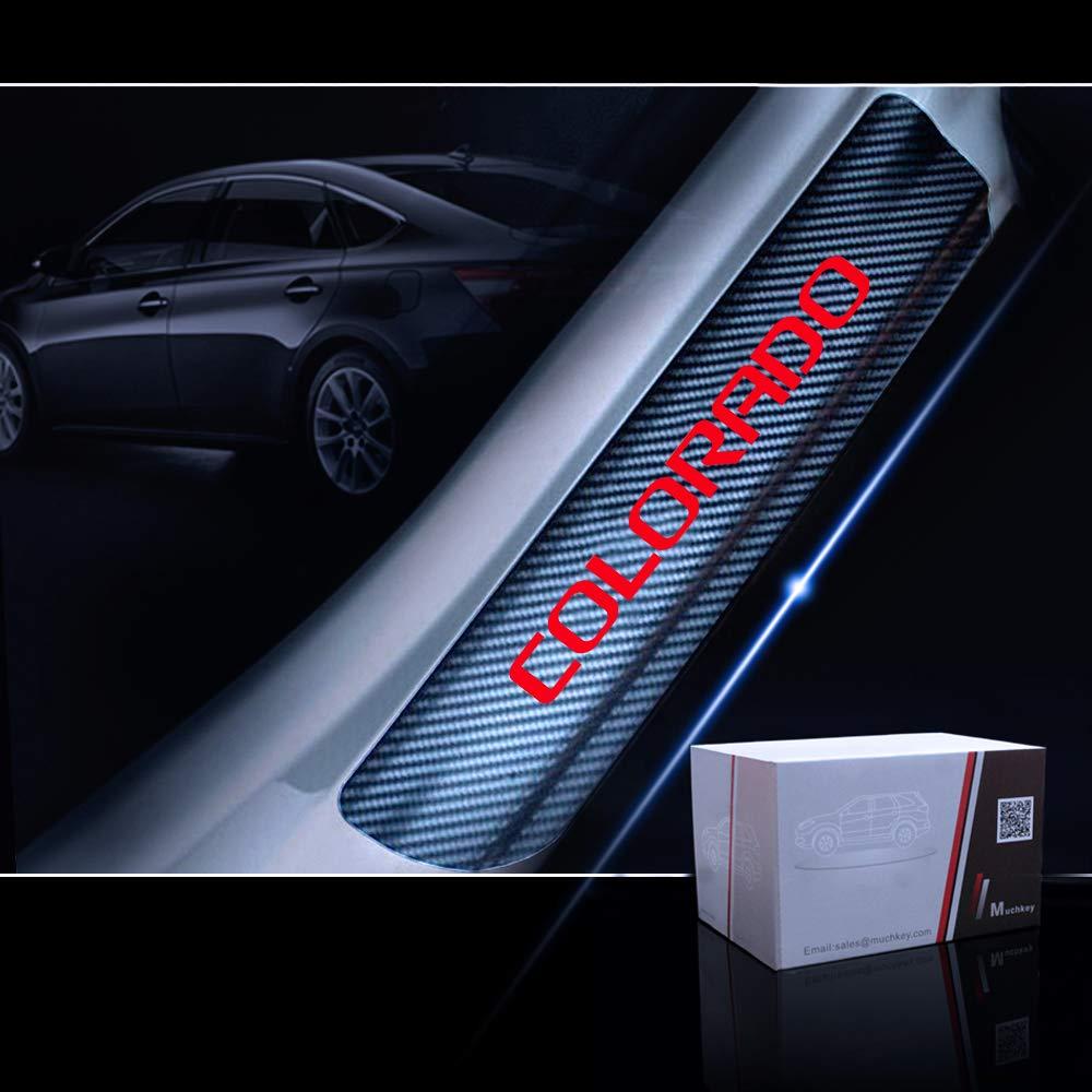 for Chevrolet Colorado Door Sill Protector Reflective 4D Carbon Fiber Sticker Door Entry Guard Door Sill Scuff Plate Stickers Auto Accessories 4Pcs Blue
