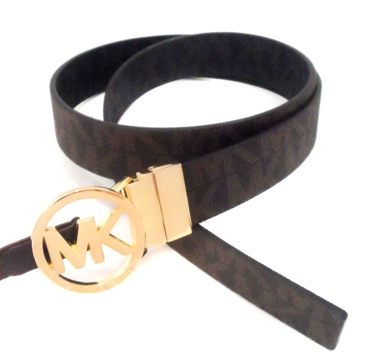 MICHAEL Michael Kors Reversible Belt with Gold-Tone MK Logo, Brown and Black, Large