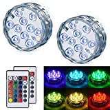LEDGLE Submersible LED Light - Battery Operated Multi Color Changing Waterproof Decorated LED Lights with Remote Control for Aquarium, Hot Tub, Vase Base, Party, Wedding (2 Pack)