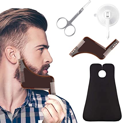 Mens Shaving Bib Hair Clipping Beard Cape Apron with Mirror Suction Black