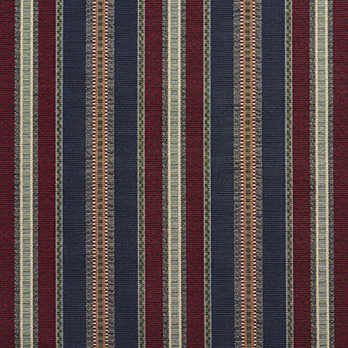 - Navy Stripe Burgundy Red Rust Dark Blue Dark Green Country Lodge Cabin Stripe Tapestry Upholstery Fabric by the yard