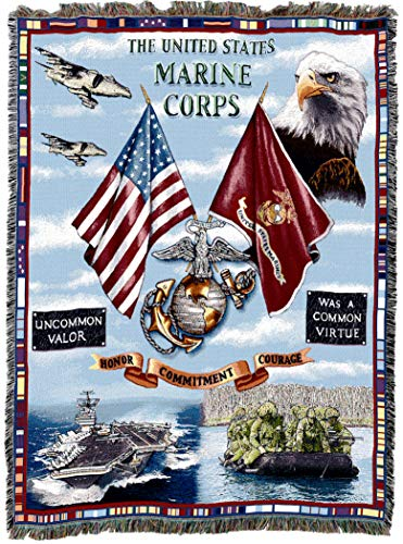 (Pure Country Weavers   USMC Aircraft Carrier Marine Corps Land Sea and Air Woven Tapestry Throw Blanket with Fringe Cotton USA 72x54 )