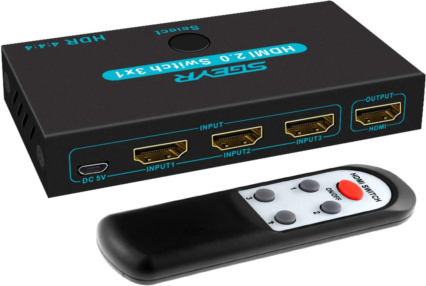 SGEYR HDMI 2.0 Switch Splitter 3 Port 4K HDMI Switcher 3 in 1 Out Metal HDMI Switches Selector Box with IR Remote Control Support HDCP 2.2 Support 4K@60Hz Ultra HD 3D 2160P 1080P