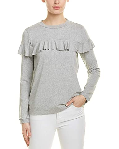 Susana Monaco Womens Ruffle T Shirt, M, Grey by Susana Monaco