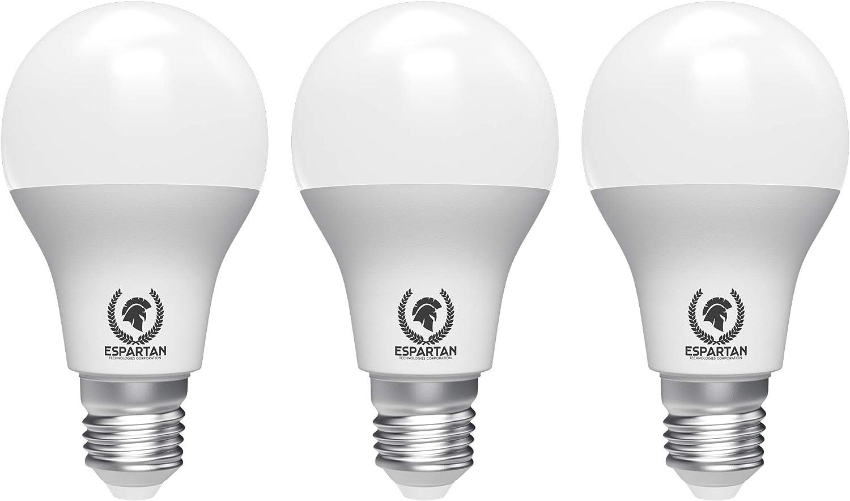 Espartan Bombilla LED E27 Luz cálida 12W, 3000K, 840 lúmenes - 3 unidades