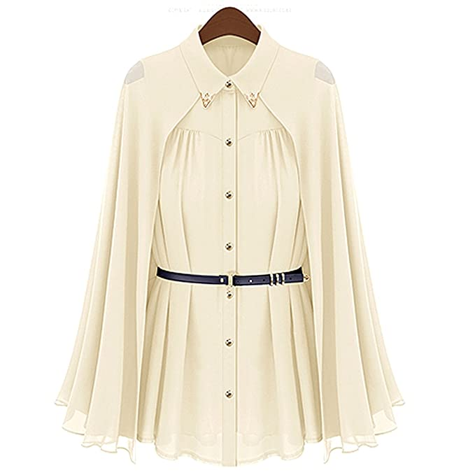 Rosenice Sleeveless Women s Loose Cape Style Chiffon Blouse Shirt ...