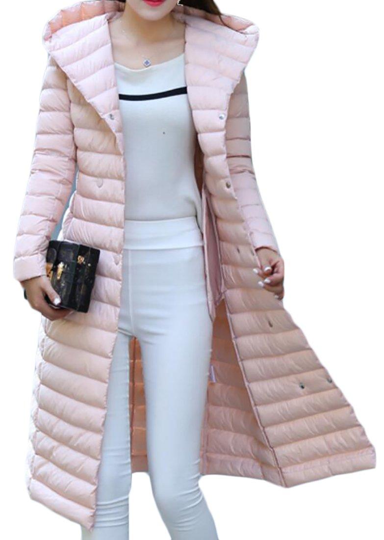 WSPLYSPJY Women's Silm Fit Hooded Lightweight Long Sleeve Down Puffer Parka Jacket Coat with Belt 1 L