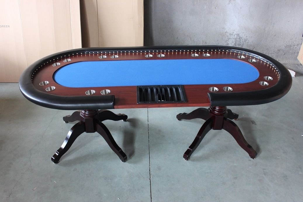 Amazon.com  Deluxe 94\  Solid Wood Texas Holdem Poker Card Table 10 Players Dining Top (Blue)  Sports \u0026 Outdoors & Amazon.com : Deluxe 94\