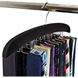 SunTrade Wooden Tie Hanger,24 Tie Organizer Rack Hanger Holder Hook, Black, 24 hooks