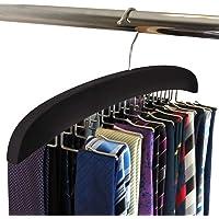 SunTrade Wooden Tie Hanger,24 Tie Organizer Rack Hanger Holder 24 Hooks (Black)