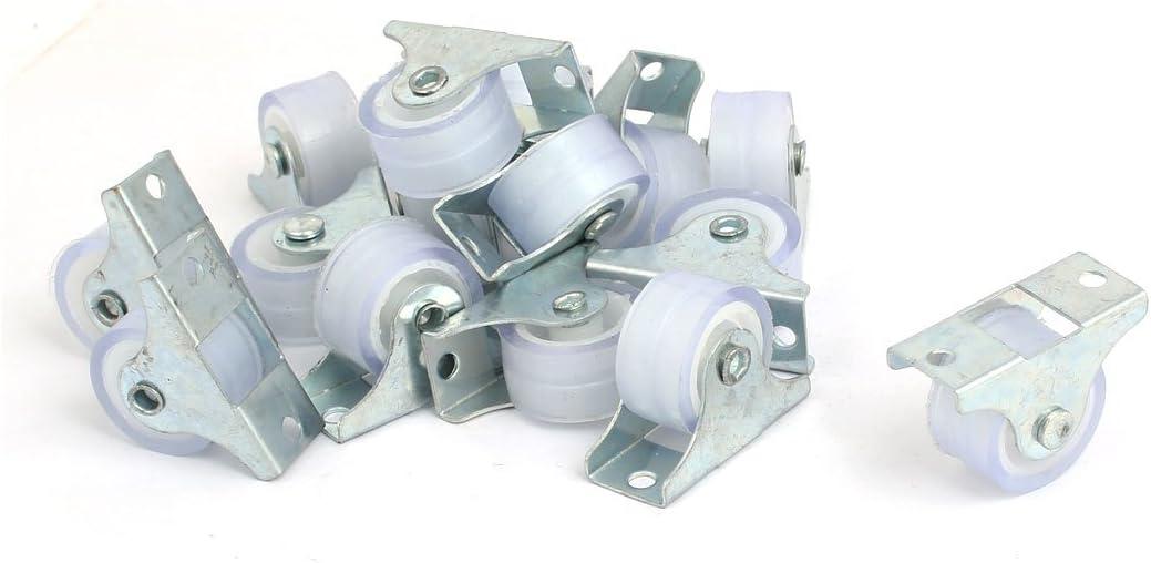 sourcingmap/® 25mm 1-inch Dia PVC Single Wheel Rigid Non-Swivel Top Plate Fixed Caster 50pcs