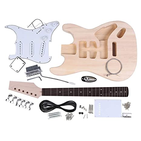 Youtaimei Producto satisfactorio Kit de Guitarra eléctrica de Bricolaje sin terminar Cuerpo de Caoba Cuerpo de Arce Cuello de Guitarra Redwood Diapasón ...
