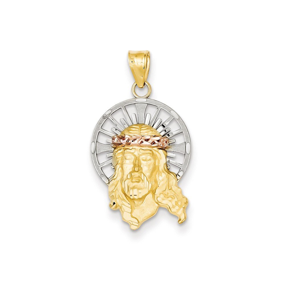 14K Three Tone Gold D/C Head of Jesus Christ Charm (1.1IN long x 0.6IN wide)