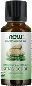 NOW Essential Oils, Organic Atlas Cedar Oil, Balancing Aromatherapy Scent, Steam Distilled, 100% Pure, Vegan, Child Resistant Cap, 1-Ounce