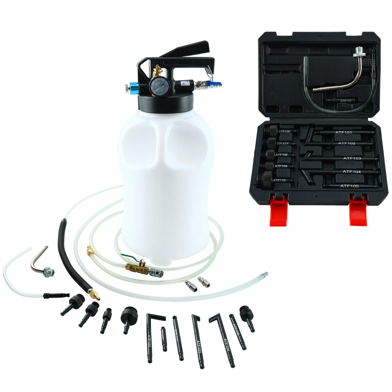 10 Liter Pneumatic ATF Oil and Liquid Extractor + 14 pcs ATF Adapters/Refill System Kit freebirdtrading