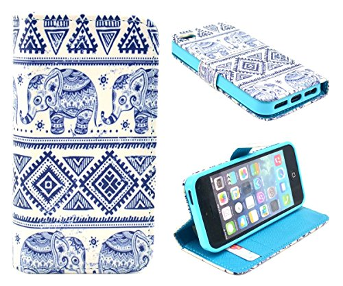 iPhone 5S Case,iPhone SE Case, Welity Cute Fashion Elephant Graphic Design PU Leather Magnetic Snap Flip Stand Wallet Case with Cash & Credit ID Card Slots for Apple iPhone 5S/SE/5G