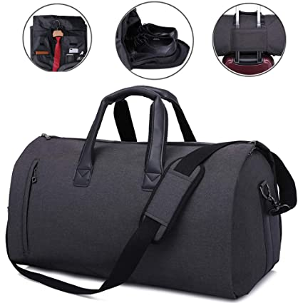 JoofEric Carry On Garment Bag for Travel   Business Trips with Shoulder  Strap Duffel Bag with Shoe Pouch (Black)  Amazon.ca  Luggage   Bags d8394172d66a4
