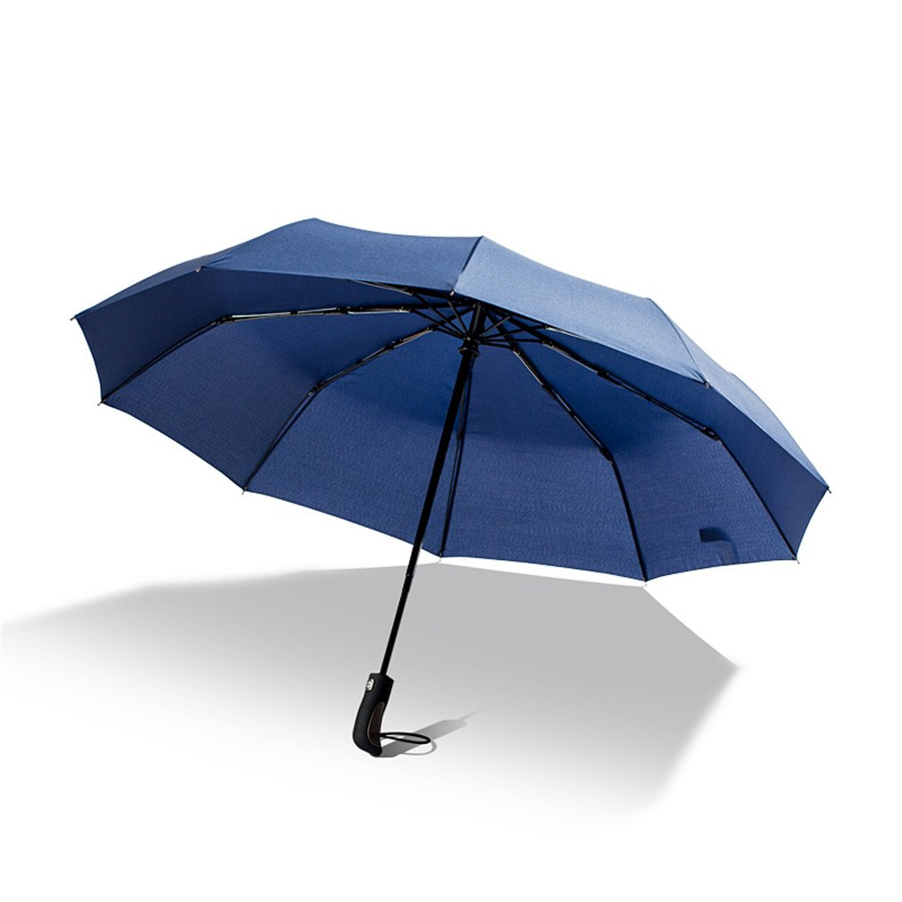 Guoke A Key To Business Men And Women Fully Automatic Folding Umbrella With Fine Rain Two King-Size Rugged, Sapphire Blue