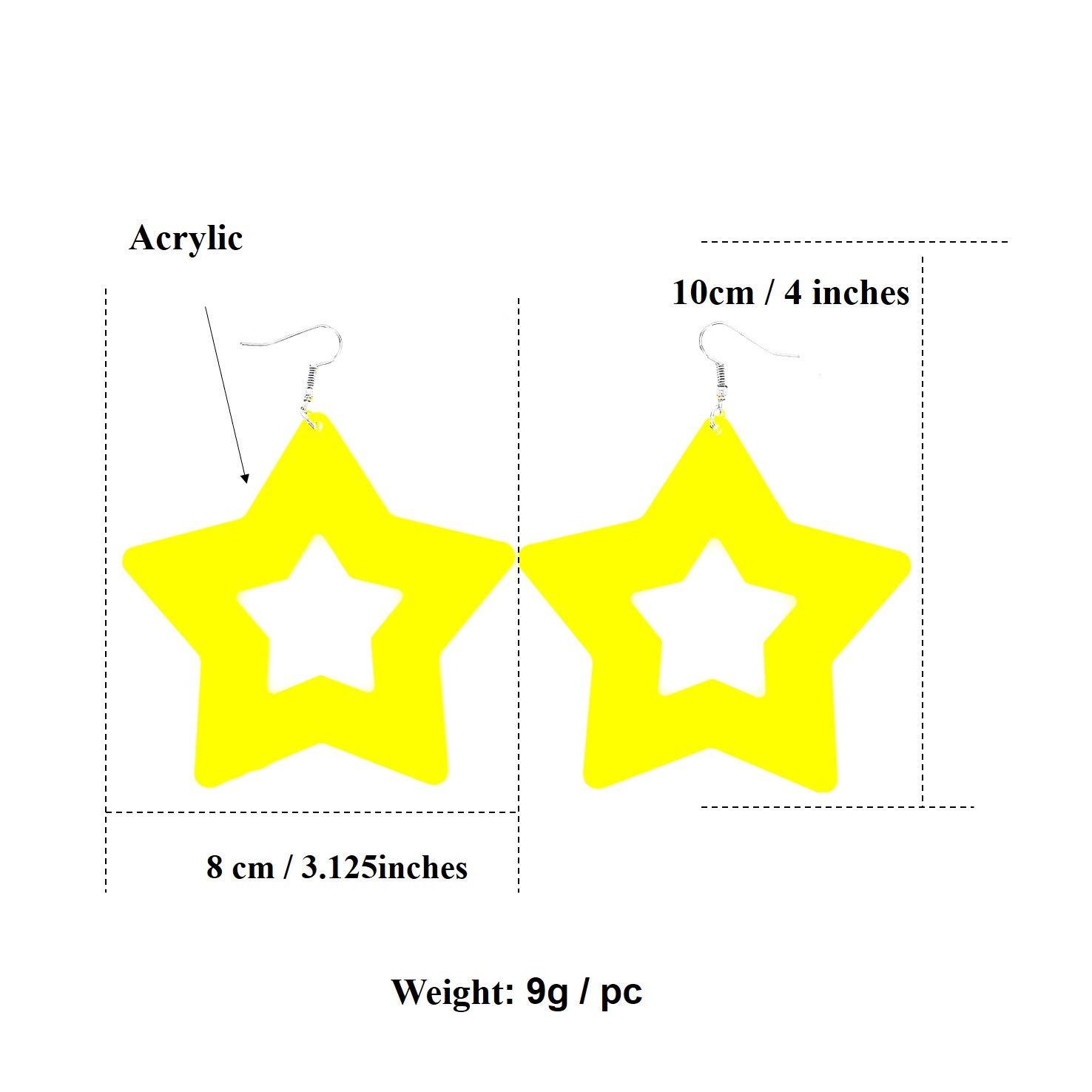 Lightweight Drop Acrylic 80s Party Earrings Fashion Neon Color Star Earrings for Women Girls