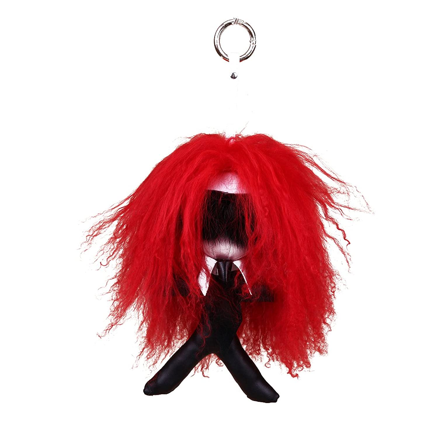 URSFUR Leather Keychain Lafayette Monster Fur Key Chain Bag Pendant Key Ring Doll