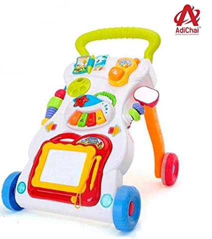 AdiChai 4 in 1 Multifunctional Baby Sit-to-Stand Musical Walker with Music Piano,Mini Phone & Learning Case Educational Learn Walk Toy for Babies,Kids