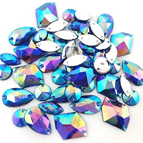 Large Blue Rhinestone - PEPPERLONELY 50PC Blue AB Color Sew On Mixed Shape & Size Flat Back Faceted Acrylic Crystals Rhinstones, 7~21mm