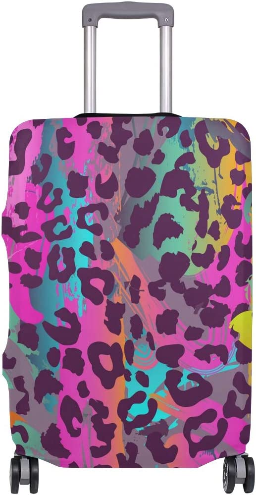 Travel Luggage Cover Rosy Watercolor Leopard Print Suitcase Protector