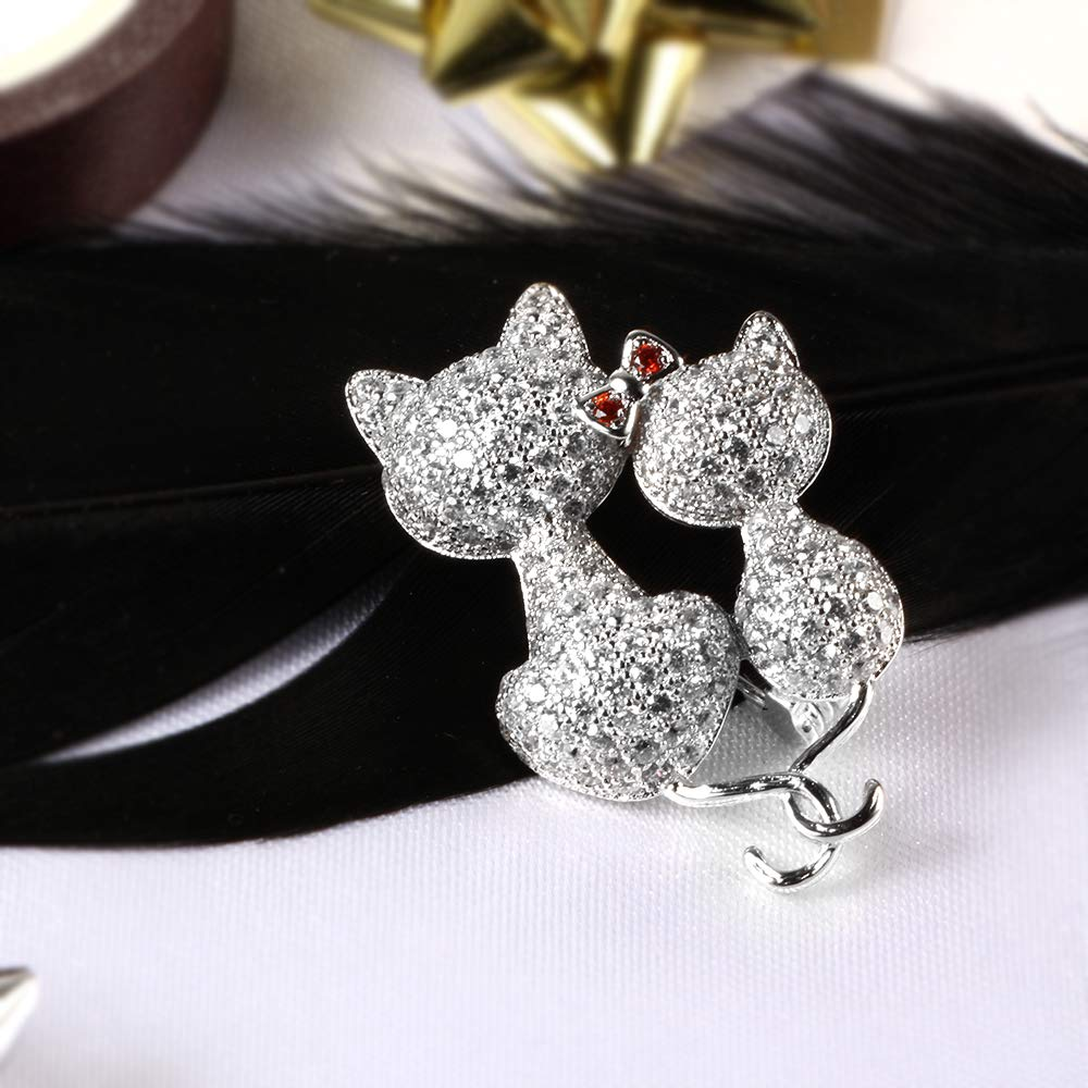 Kemstone Silver Tone Lovely Cat Brooch and Pin