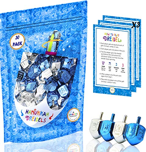 Hanukkah Plastic Silver & Blue Metallic Dreidels with Foil Embossed Hebrew Letters & English Transliteration - Includes x3 Dreidel Game Instruction Card (30-Pack Bag)