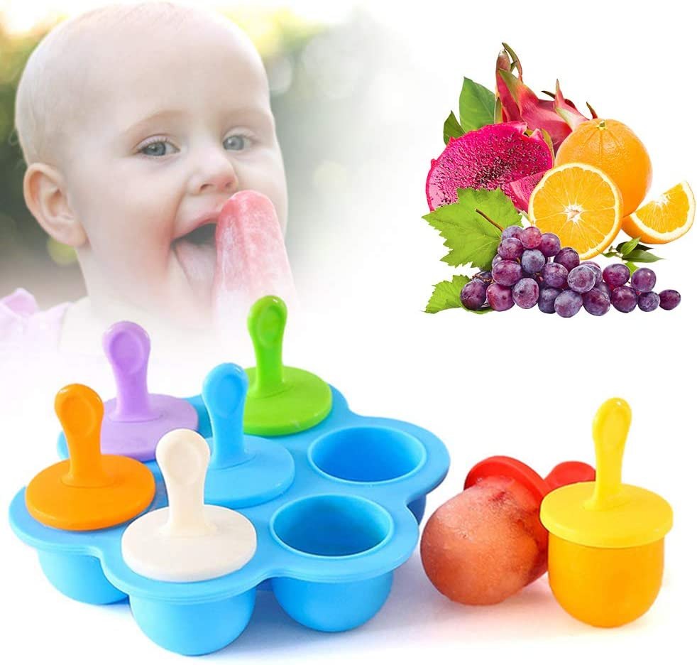 Mini Silicone Popsicle Molds, 7-cavity DIY Ice Pop Mold With Sticks and Drip-guards, Non-Stick Food Grade Popsicle Makers, Baby Food Storage Container Blue