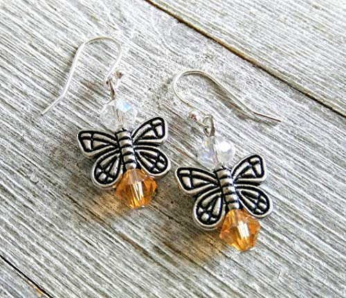 November Birthstone Earrings - Angel - Fairy - Butterfly Earrings - Citrine Topaz Colored Glass Beads - Girls Earrings - Silver Plated Ear wires - Birthday Earrings - Girls Womens Butterfly Earrings