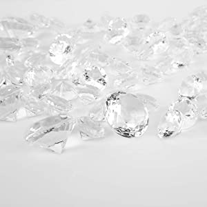 Koyal Wholesale Assorted 2cm, 3cm, 4cm Clear Acrylic Diamond Vase Fillers for Centerpieces, 2 lb Bulk Gem Fillers for Table Scatter, Centerpieces, Crafts for Wedding, Decorations, Events, Home Decor