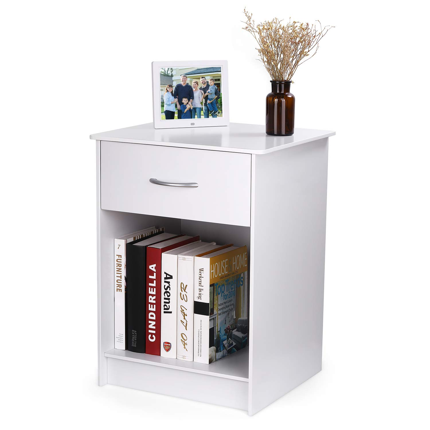INTEY White Wood Nightstand with One Drawer and Open Cabinet Storage, Bedroom Modern Tall Nightstands Bedside End Table