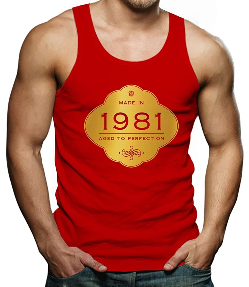 Made in 1981 Aged to Perfection 35th Birthday Gift Singlet TeeStars