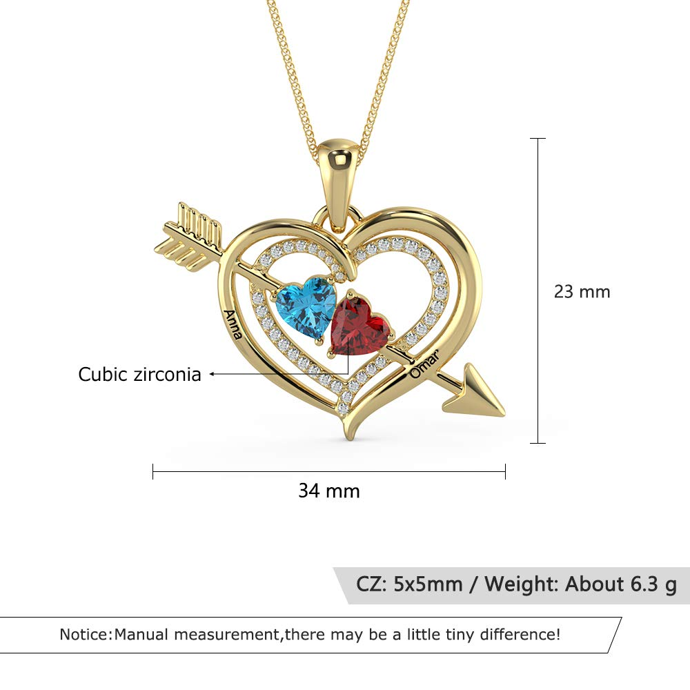 ROSI AUDIO PRO Personalized Mother Necklace 2 Names Necklace Couple Necklace with 2 Heart Simulated Birthstone Promise Infinity Pendant Necklace for Her