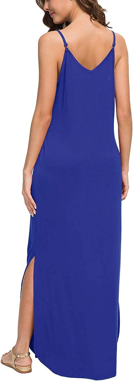 CLOUSPO Maxi Dresses for Women Sleeveless V Neck Loose Adjustable Long Dress with Pocket Strappy Summer Dress for Women Beach Dress for Summer