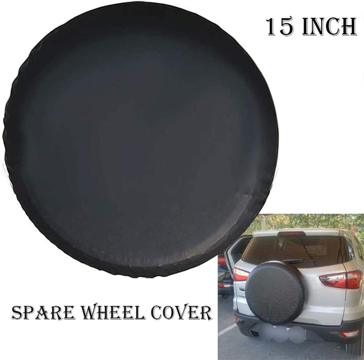 DULALA Car SUV Caravan Tyre Tire Cover 17 inches Spare Wheel Cover Leather Waterproof Sun Protector