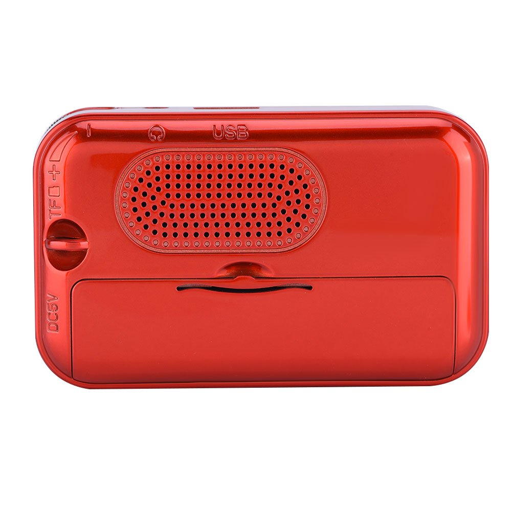 fosa Portable FM Radio, Mini Radio Speaker Noise Canceling Stereo MP3 Player Radio Noise Canceling FM Radio Support USB/TF/AUX for Elderly (Red) by fosa (Image #7)