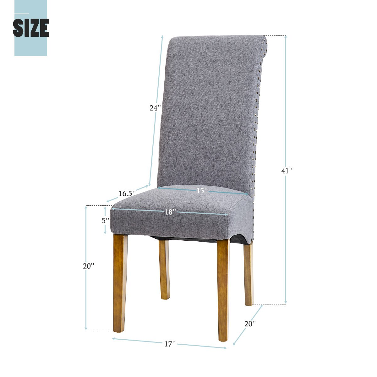 Merax Dining Chairs Set of 2 Fabric Padded Side Chair with Solid Wood Legs, Nailed Trim(Grey) by Merax (Image #6)