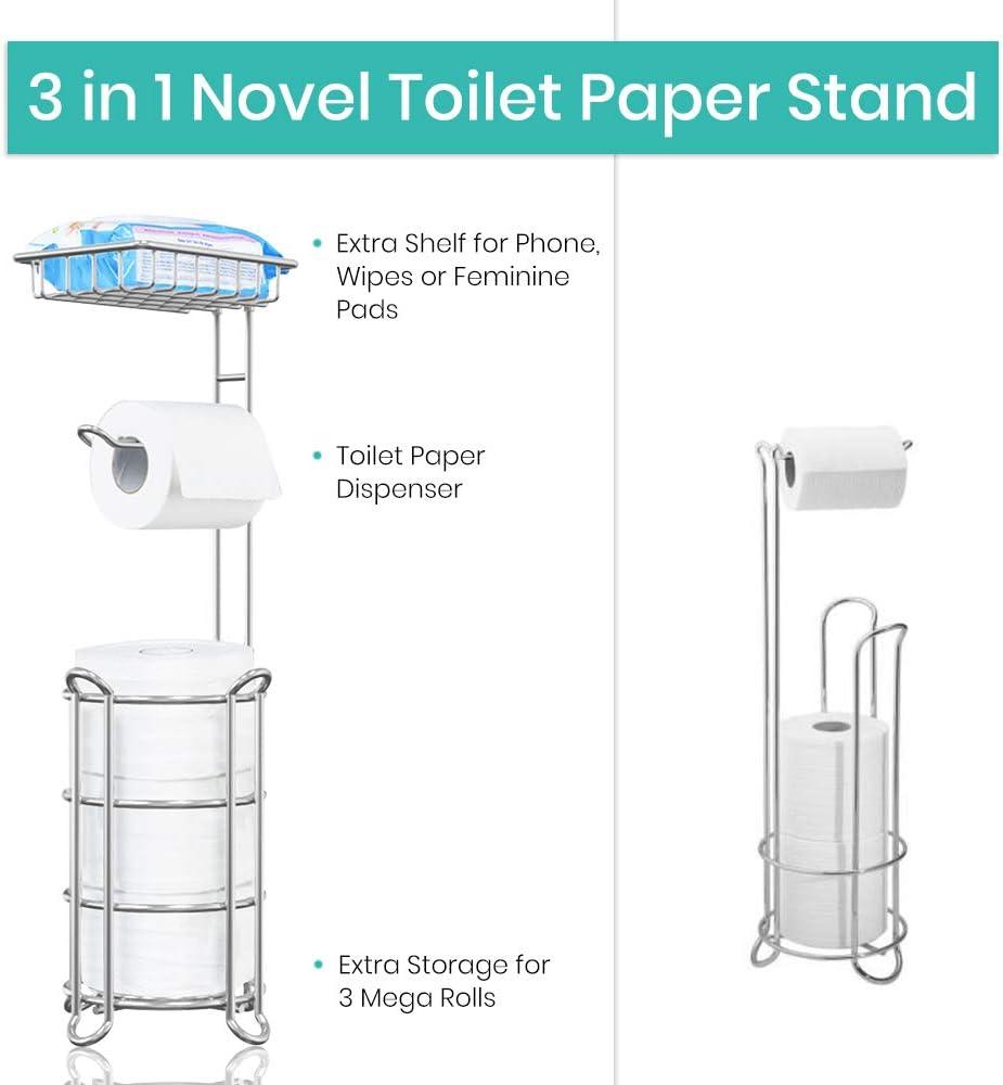 TreeLen Toilet Paper Holder Stand Toilet Tissue Roll Holder with Shelf for Bathroom Storage Holds Phone/Wipe/Mega Rolls-Shiny Chrome - -