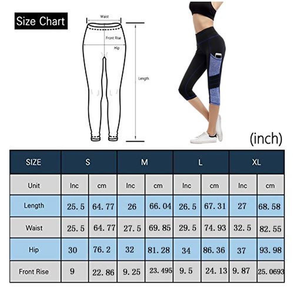 Imido Women\'s Yoga Capri Pants Sport Tights Workout Running Leggings With Side Pocket (XL)