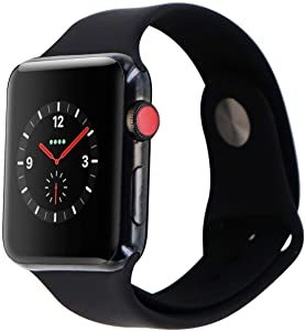 Apple Watch Series 3 (GPS + Cellular, 38MM) - Space Black Stainless Steel Case with Black Sport Band (Renewed)