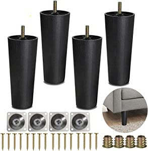 Sofa Legs, 4 Pack Tapered Plastic Sofa Couch and Chair Legs M8 Thread (Metric 8mm) Replacement Furniture Legs with Leg Mounting Plates for Couch, Armchair, Cabinet