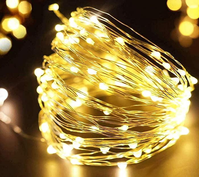 Fairy Lights Battery Operated Frideko 100 LED String Lights 10 Feet Warm White Starry Decorative Silver Wire Hanging Light Indoor Decor Mason Jar Wedding Party Bedroom - Battery Not Included