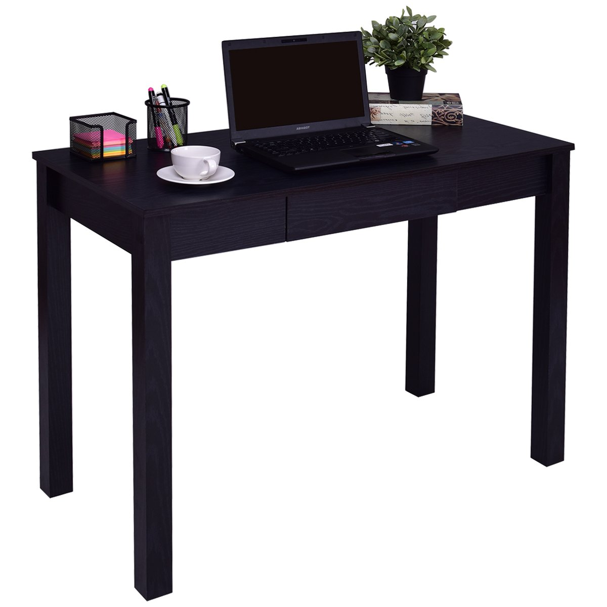 TANGKULA Computer Desk with Drawer Home Office Compact Efficient Laptop PC Desk Wood Workstation Writing Study Table (Black)