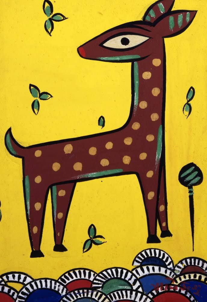 Berkin Arts Jamini Roy Giclee Print On Canvas-Famous Paintings Fine Art Poster-Reproduction Wall Decor(Fawn) Large Size 26.8 x 39inches
