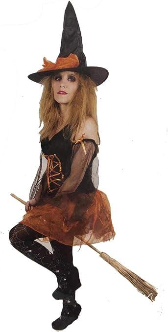 LEMON TREE SL Disfraz para Halloween de Mujer Bruja Naranja. Talla ...